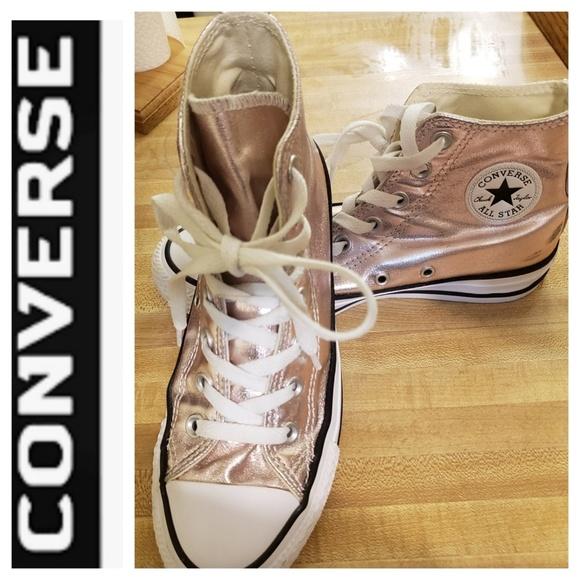 Converse, Pink Met.Rose Gold High Tops, Sz. 6